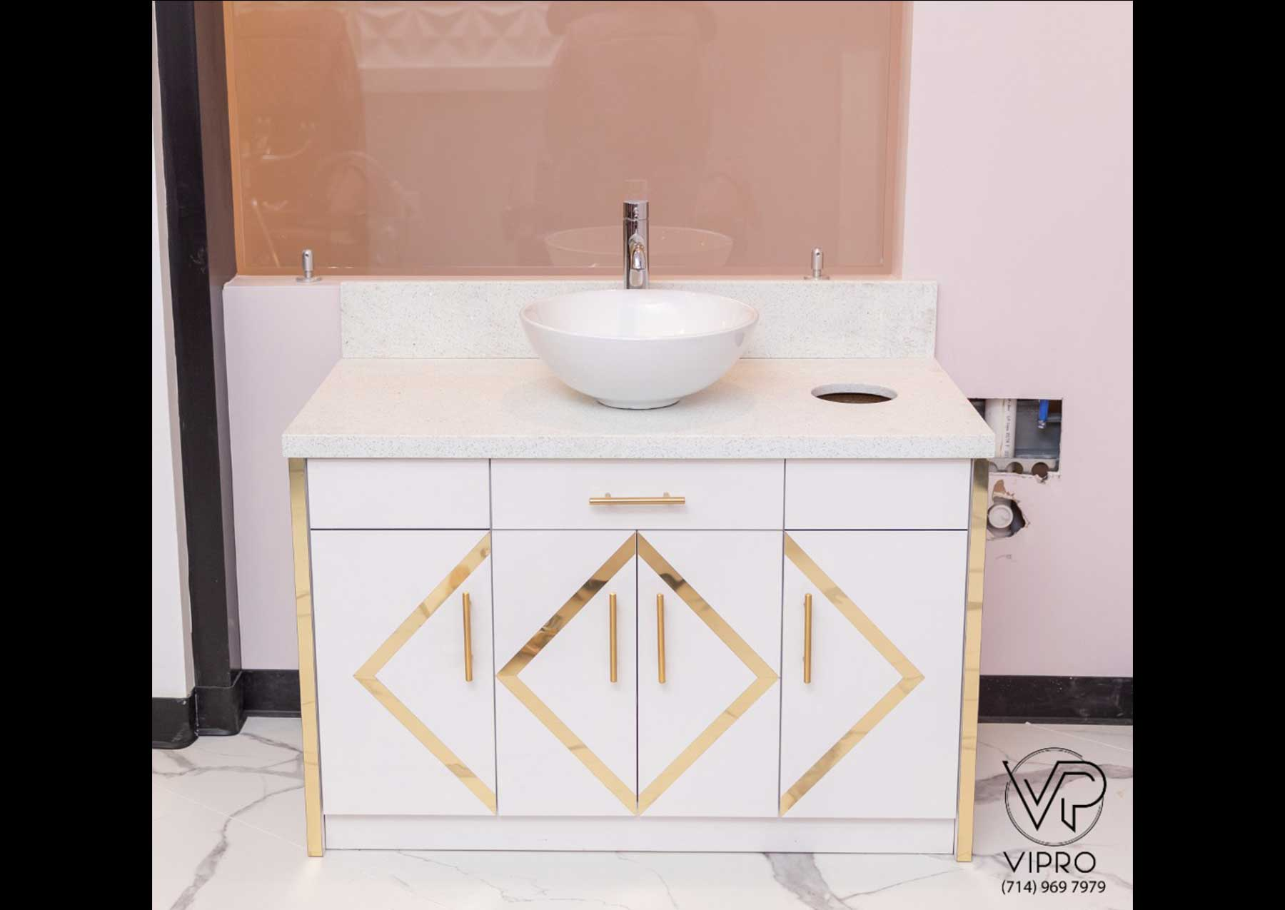 Gold Trim Single Sink Cabinet