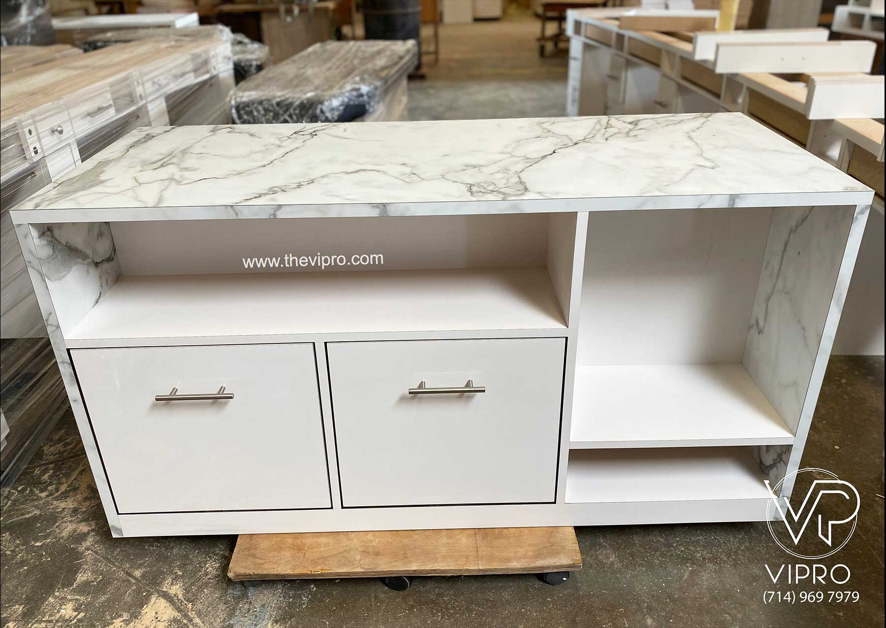 Storage Cabinet with Stone Finish Formica