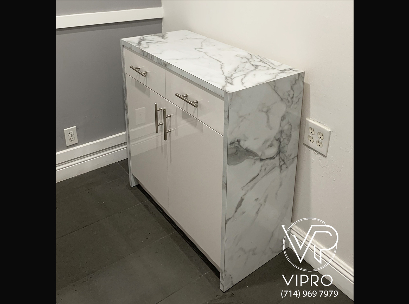 Waterfall Marble Formica Cabinet